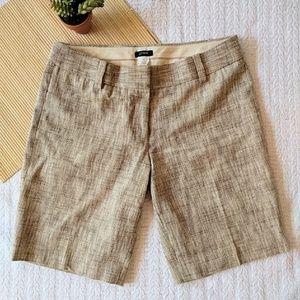 J. Crew Tan Tweed Linen Blend Bermuda Shorts Sz 8